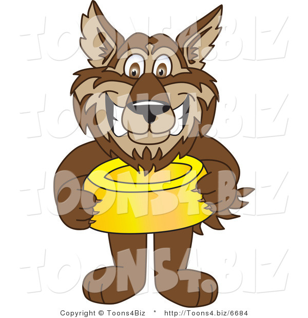 Vector Illustration of a Cartoon Wolf Mascot Holding a Food Bowl