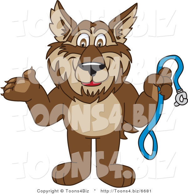 Vector Illustration of a Cartoon Wolf Mascot Holding a Leash