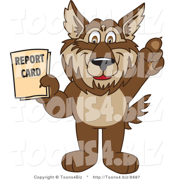 Vector Illustration of a Cartoon Wolf Mascot Holding a Report Card