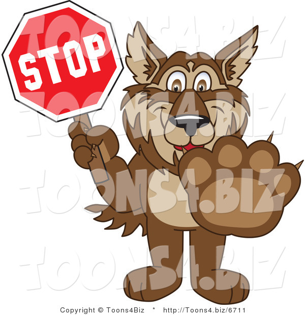 Vector Illustration of a Cartoon Wolf Mascot Holding a Stop Sign