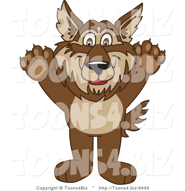 Vector Illustration of a Cartoon Wolf Mascot Holding His Paws up