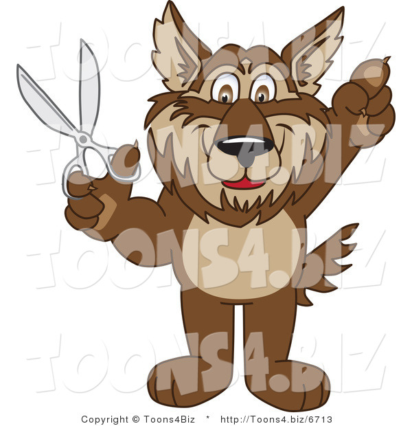 Vector Illustration of a Cartoon Wolf Mascot Holding Scissors