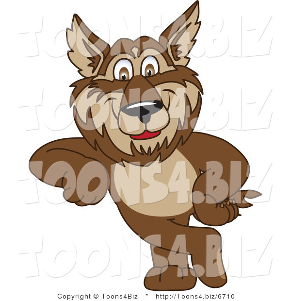 Vector Illustration of a Cartoon Wolf Mascot Leaning