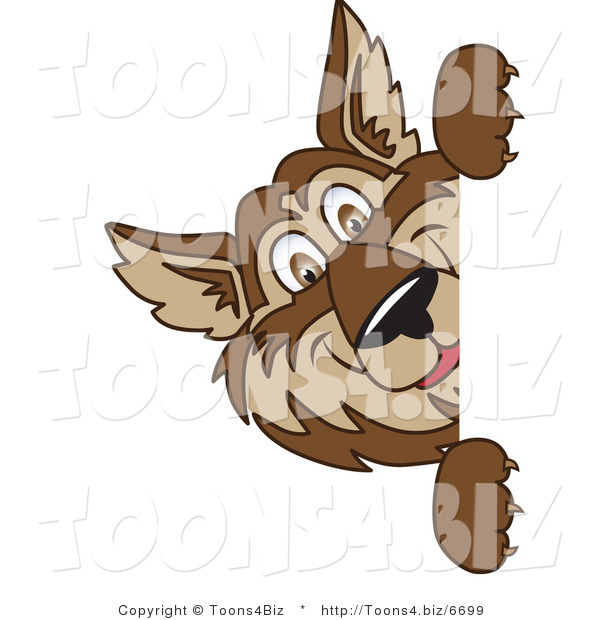 Vector Illustration of a Cartoon Wolf Mascot Looking Around a Blank Sign