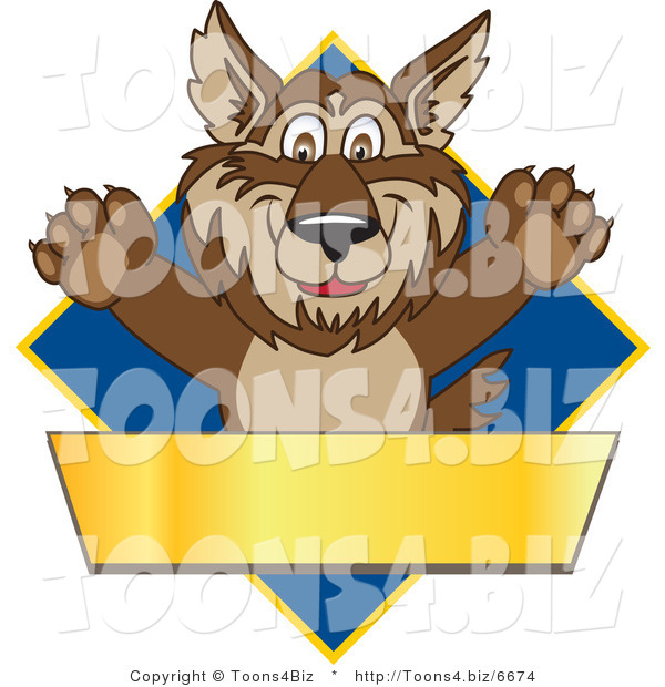 Vector Illustration of a Cartoon Wolf Mascot over a Blue Diamond and Blank Gold Banner