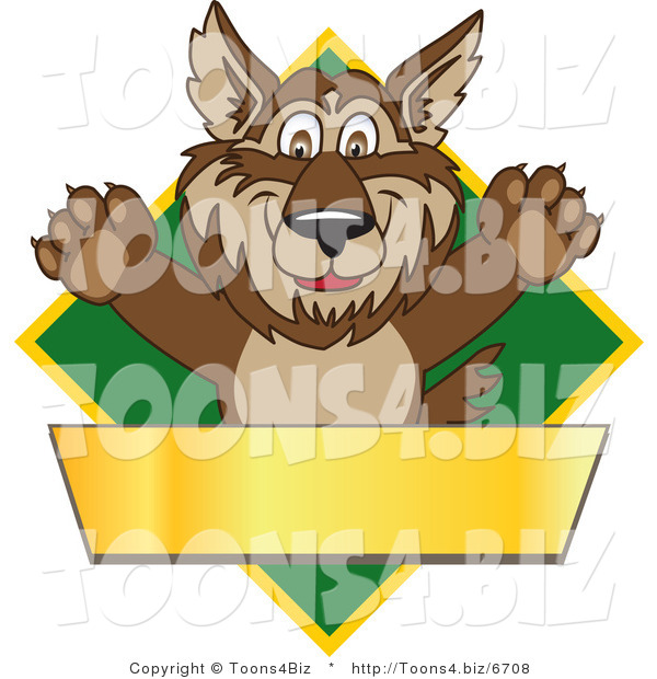Vector Illustration of a Cartoon Wolf Mascot over a Green Diamond and Blank Gold Banner