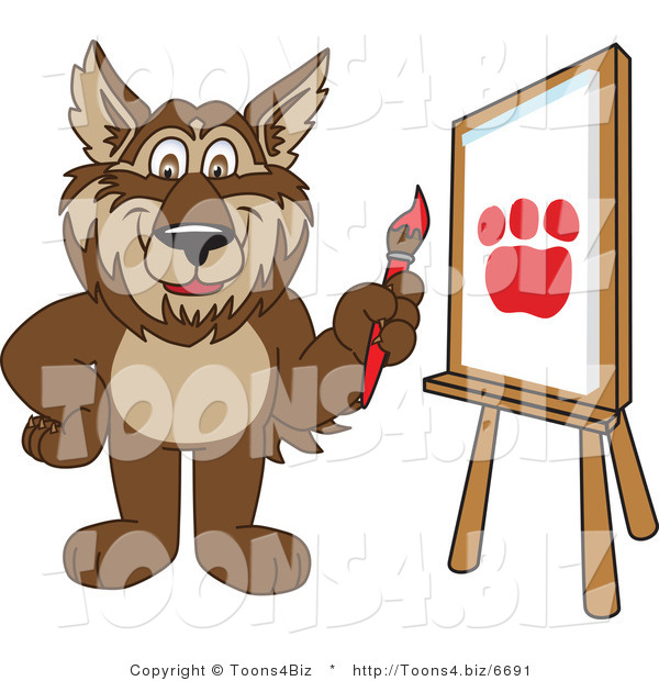 Vector Illustration of a Cartoon Wolf Mascot Painting a Paw Print on Canvas