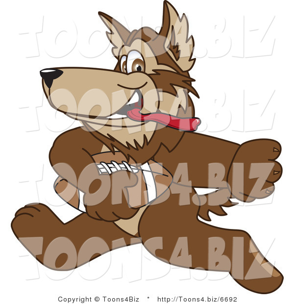 Vector Illustration of a Cartoon Wolf Mascot Playing Football