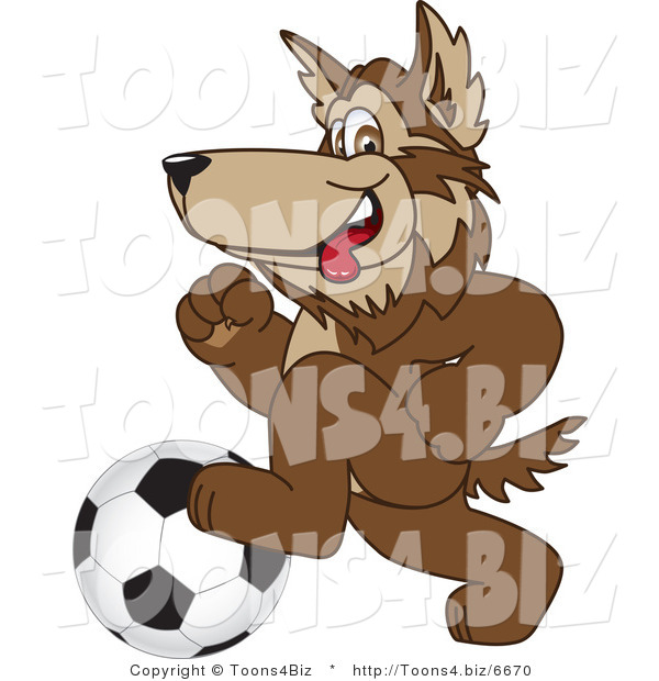 Vector Illustration of a Cartoon Wolf Mascot Playing Soccer