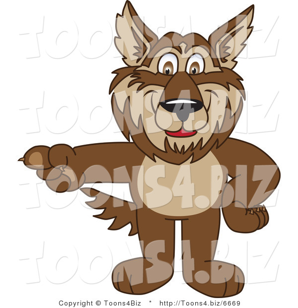 Vector Illustration of a Cartoon Wolf Mascot Pointing Left