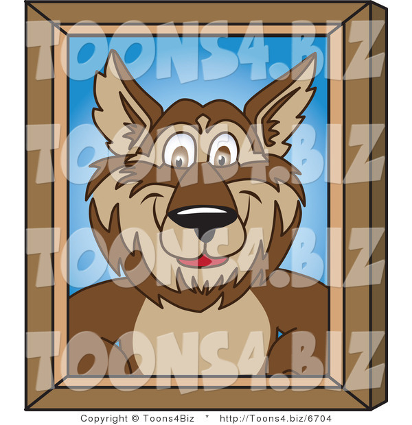 Vector Illustration of a Cartoon Wolf Mascot Portrait
