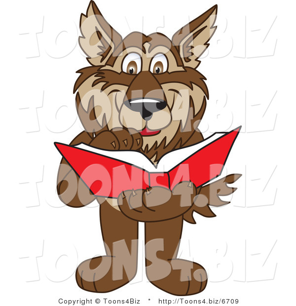 Vector Illustration of a Cartoon Wolf Mascot Reading a Book