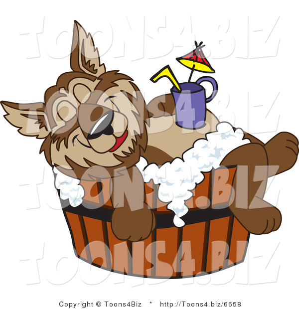 Vector Illustration of a Cartoon Wolf Mascot Relaxing in a Tub with a Drink on His Belly