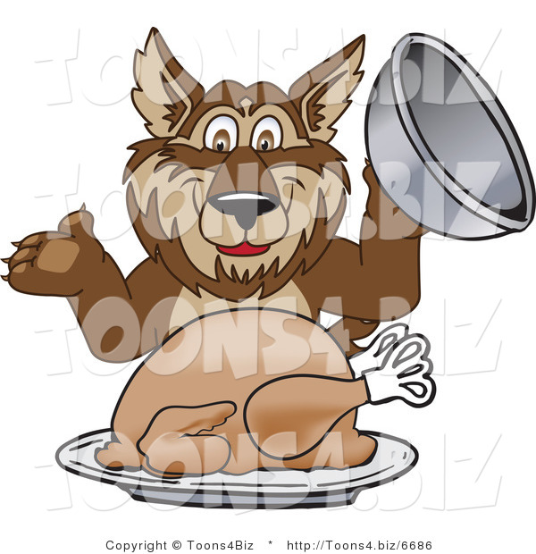Vector Illustration of a Cartoon Wolf Mascot Serving a Thanksgiving Turkey