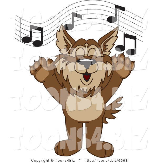 Vector Illustration of a Cartoon Wolf Mascot Singing