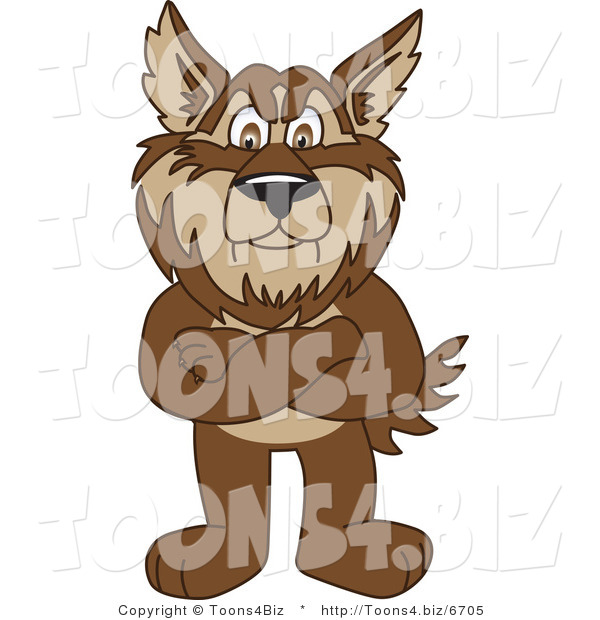 Vector Illustration of a Cartoon Wolf Mascot Standing with His Arms Crossed