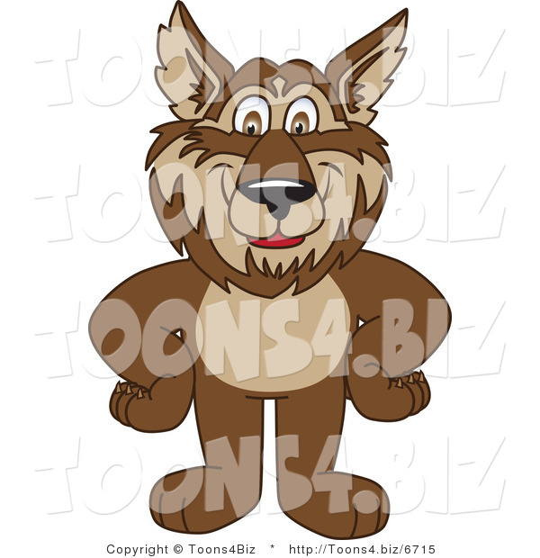 Vector Illustration of a Cartoon Wolf Mascot Standing with His Hands on His Hips
