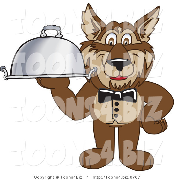 Vector Illustration of a Cartoon Wolf Mascot Waiter Serving a Platter