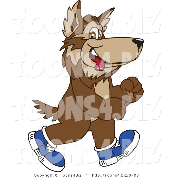 Vector Illustration of a Cartoon Wolf Mascot Walking in Shoes