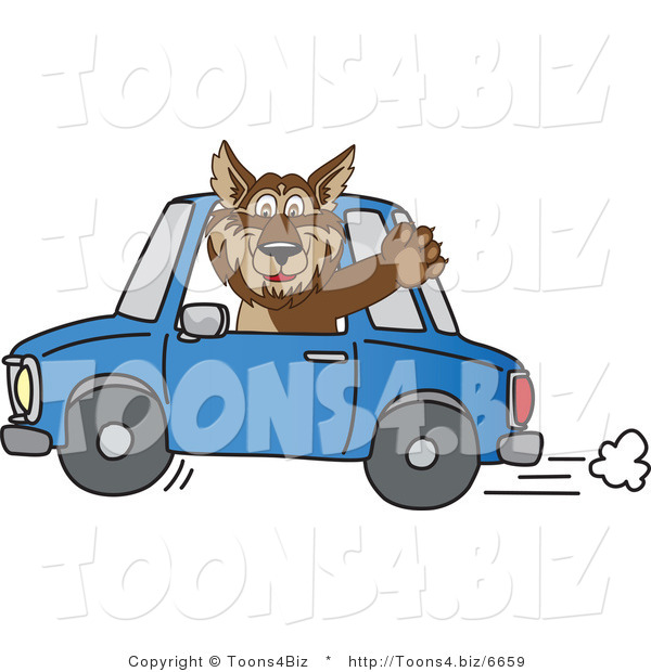 Vector Illustration of a Cartoon Wolf Mascot Waving and Driving a Car