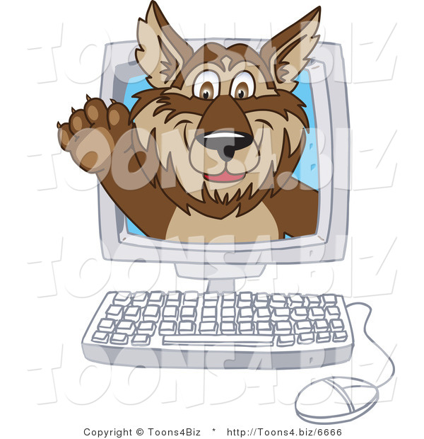 Vector Illustration of a Cartoon Wolf Mascot Waving on a Computer Screen