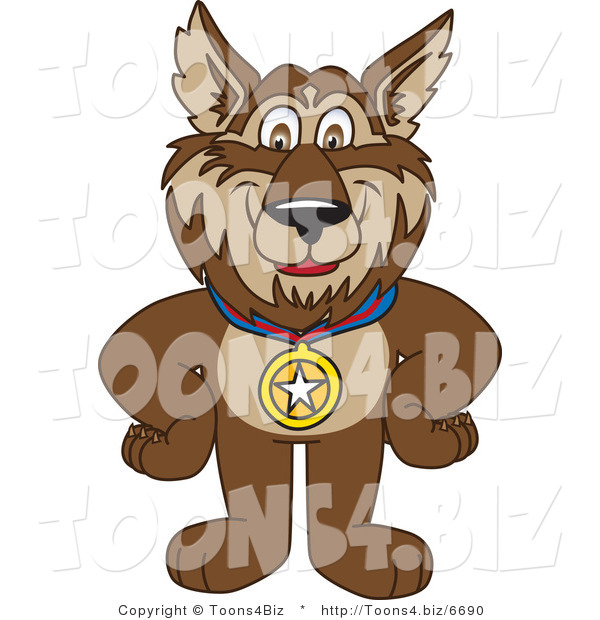 Vector Illustration of a Cartoon Wolf Mascot Wearing a Medal