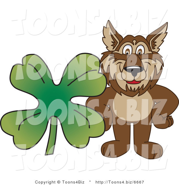 Vector Illustration of a Cartoon Wolf Mascot with a Four Leaf Clover