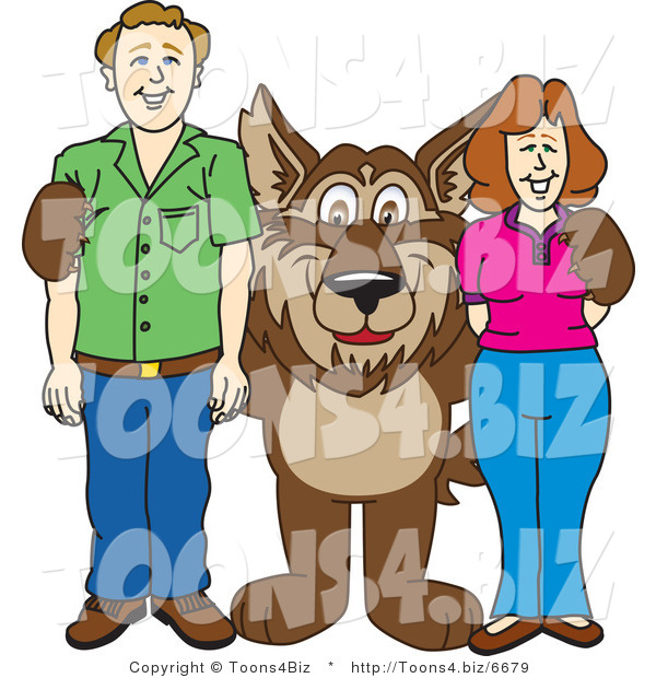 Vector Illustration of a Cartoon Wolf Mascot with Adults