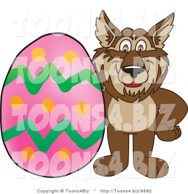 Vector Illustration of a Cartoon Wolf Mascot with an Easter Egg