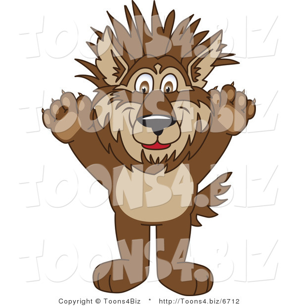 Vector Illustration of a Cartoon Wolf Mascot with Spiked Hair