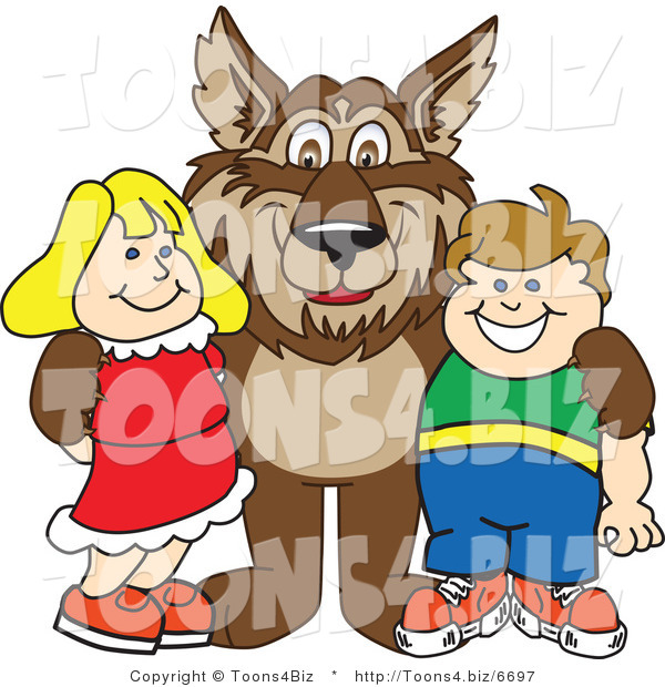 Vector Illustration of a Cartoon Wolf Mascot with Students