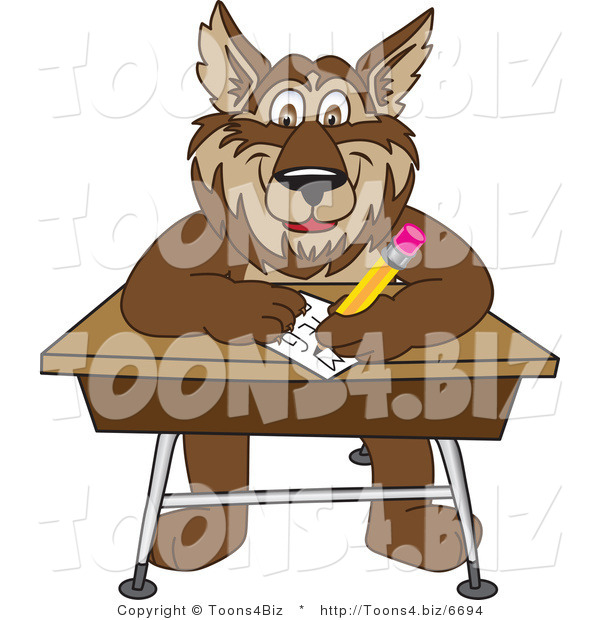 Vector Illustration of a Cartoon Wolf Mascot Writing on a Desk