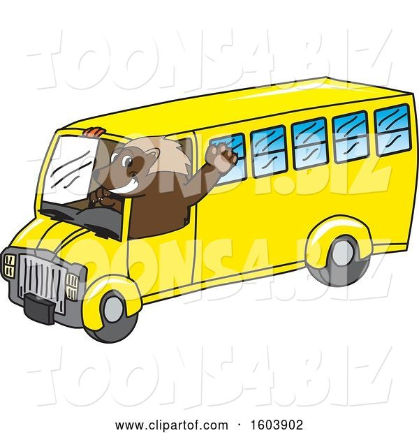 Vector Illustration of a Cartoon Wolverine Mascot Driving a School Bus