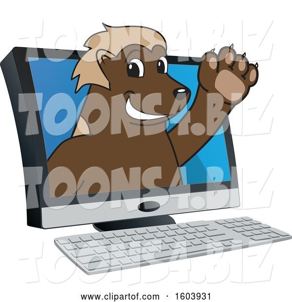 Vector Illustration of a Cartoon Wolverine Mascot Emerging from a Computer Screen