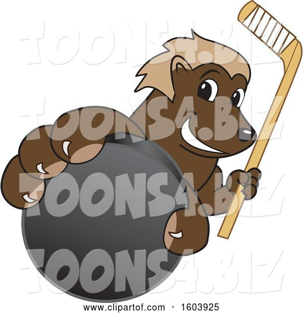 Vector Illustration of a Cartoon Wolverine Mascot Holding a Hockey Puck and Stick