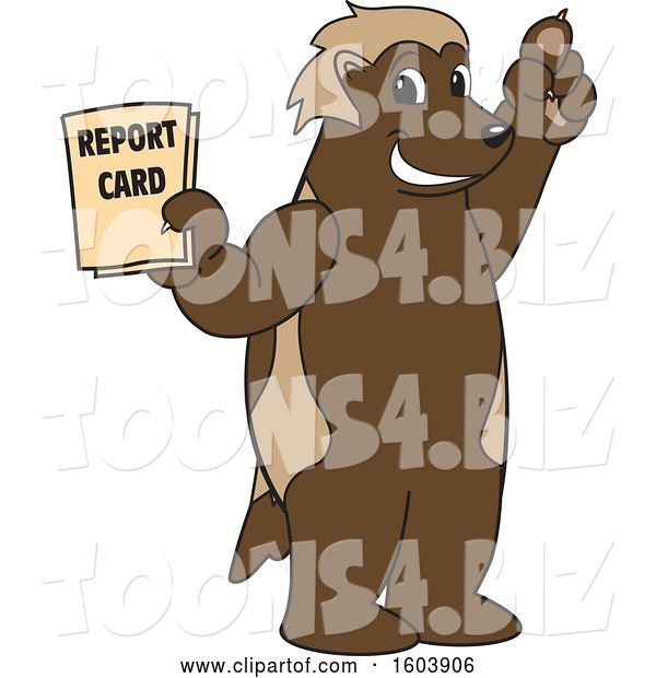 Vector Illustration of a Cartoon Wolverine Mascot Holding a Report Card