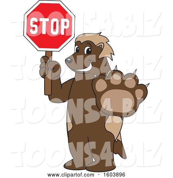 Vector Illustration of a Cartoon Wolverine Mascot Holding a Stop Sign