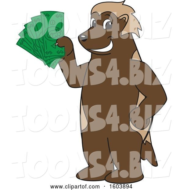 Vector Illustration of a Cartoon Wolverine Mascot Holding Cash Money