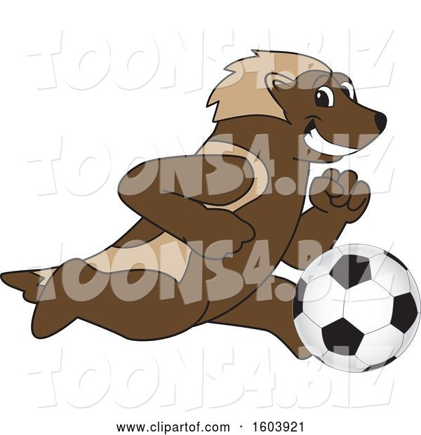Vector Illustration of a Cartoon Wolverine Mascot Playing Soccer