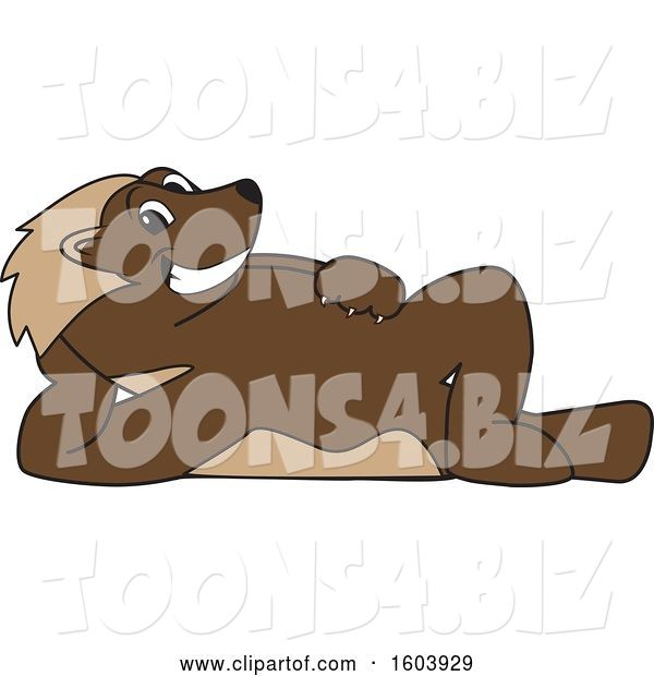 Vector Illustration of a Cartoon Wolverine Mascot Relaxing