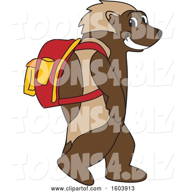Vector Illustration of a Cartoon Wolverine Mascot Wearing a Backpack