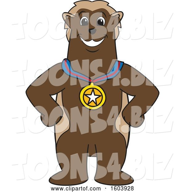 Vector Illustration of a Cartoon Wolverine Mascot Wearing a Sports Medal