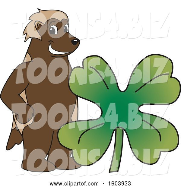Vector Illustration of a Cartoon Wolverine Mascot with a St Patricks Day Clover