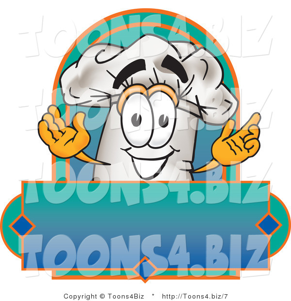 Vector Illustration of a Chef Hat Mascot over a Blank Label