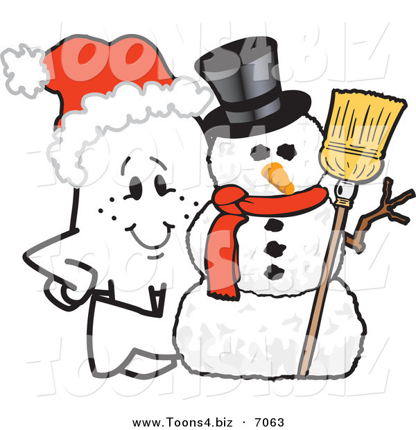 Vector Illustration of a Christmas Guy by a Snowman