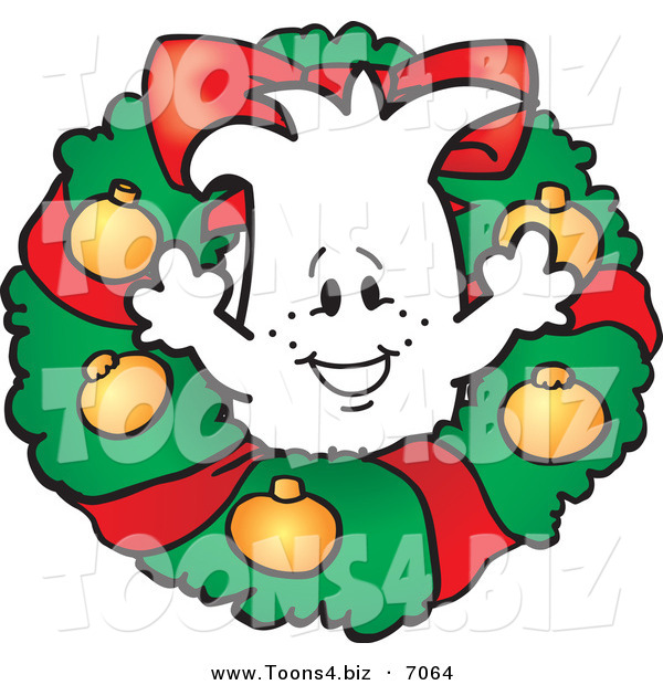 Vector Illustration of a Christmas Guy in a Wreath