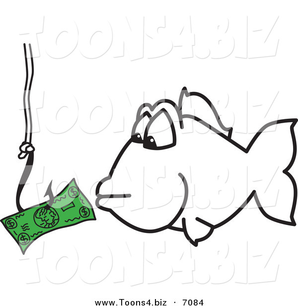Vector illustration of a cliparthook fishing for money for Fish for cash