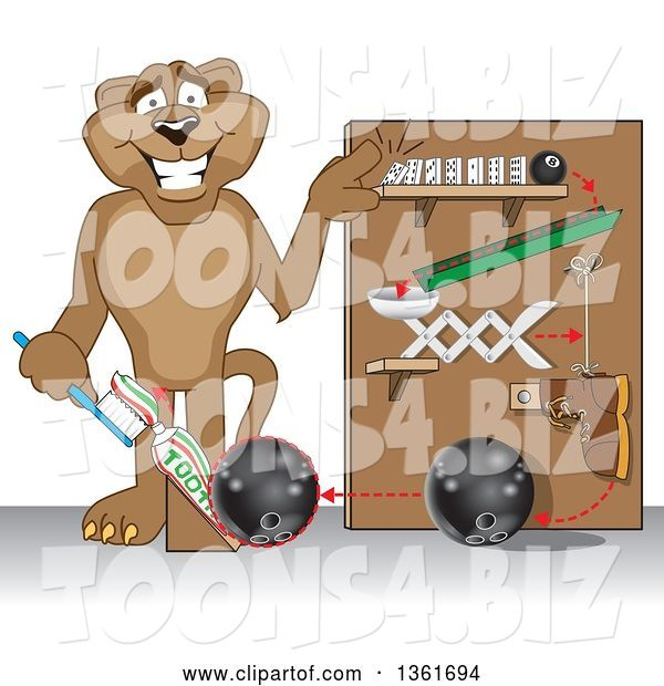 Vector Illustration of a Cougar School Mascot Showing a Toothpaste Dispenser Invention, Symbolizing Being Resourceful