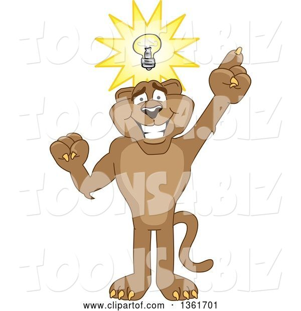 Vector Illustration of a Cougar School Mascot with an Idea, Symbolizing Being Resourceful