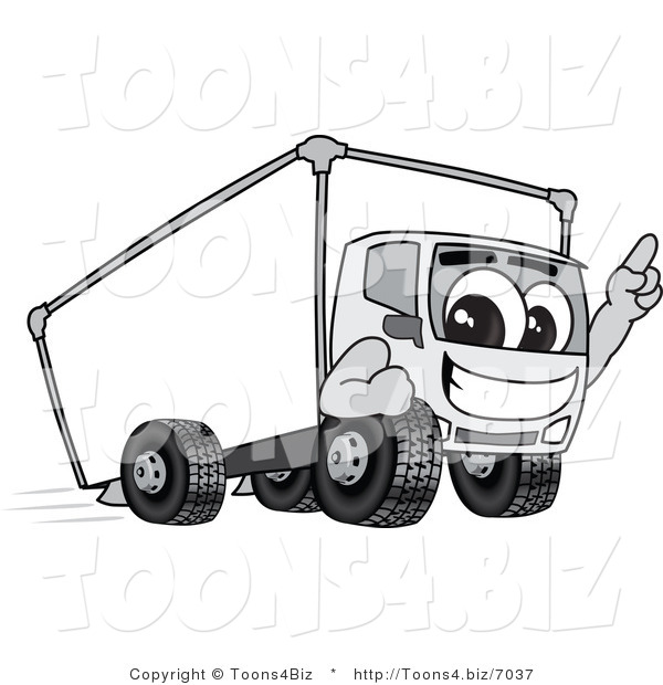 Vector Illustration of a Delivery Truck Mascot Pointing Upwards While Smiling and Driving Forward